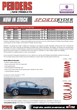 New Product Release-lowered coil springs for Holden