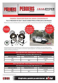 Pedders Rear Brake Drum to Disc conversion kit to suit Isuzu DMax