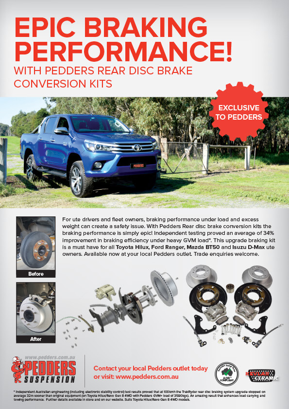 Pedders TrakRyder Rear Disc Brake Conversion Kit to suit Toyota