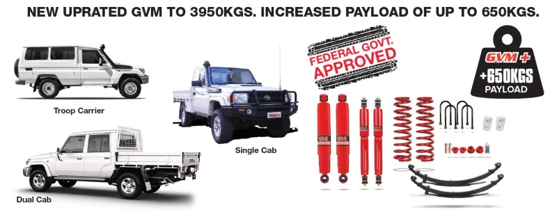 GVM Upgrade Kit - Toyota Landcruiser 78/79 Series | Pedders Suspension